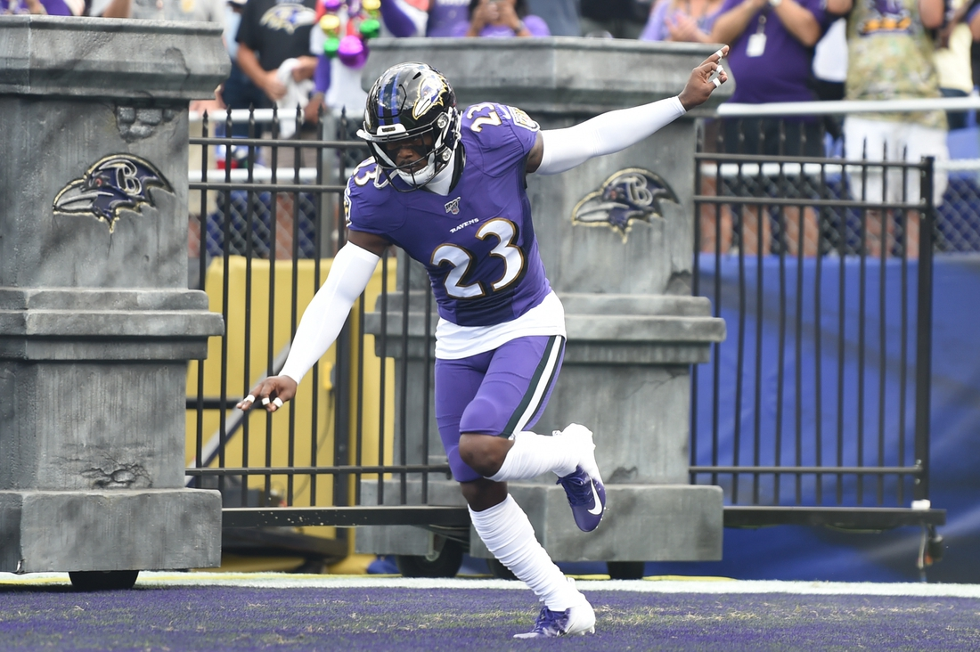 Sep 29, 2019; Baltimore, MD, USA;  Baltimore Ravens strong safety Tony Jefferson (23) is introduced before a football game against the Cleveland Browns at M&T Bank Stadium. Mandatory Credit: Mitchell Layton-USA TODAY Sports