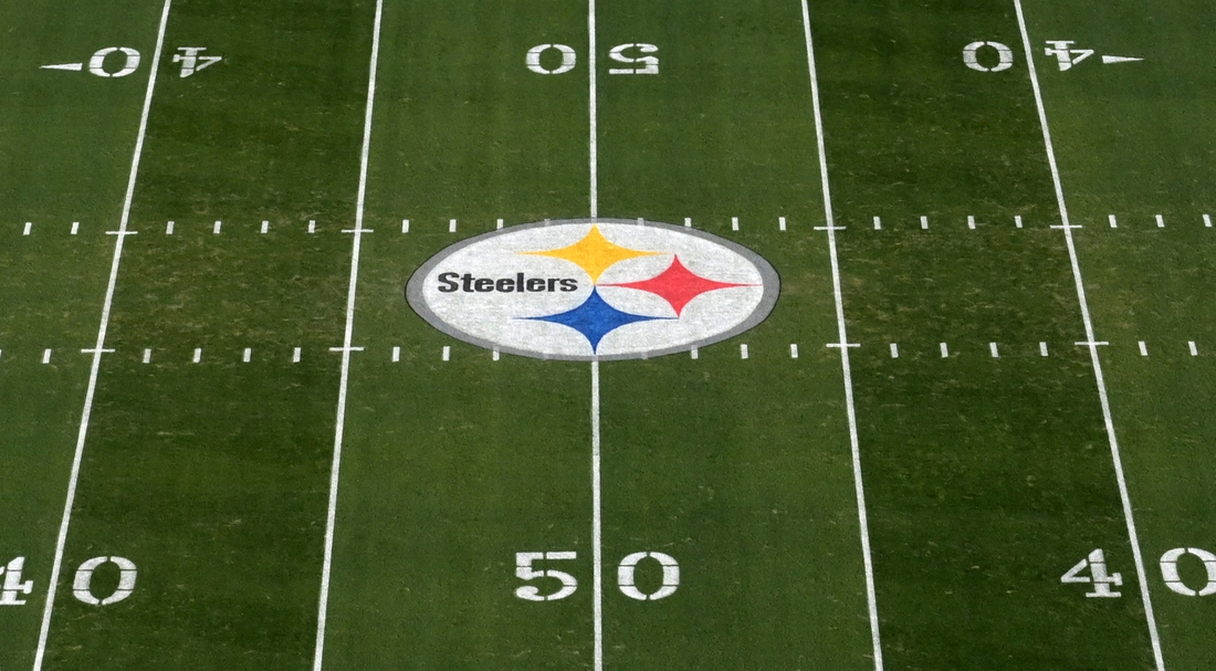 Nov 10, 2019; Pittsburgh, PA, USA; General overall view of the Pittsburgh Steelers logo at midfield at Heinz Field. Mandatory Credit: Kirby Lee-USA TODAY Sports