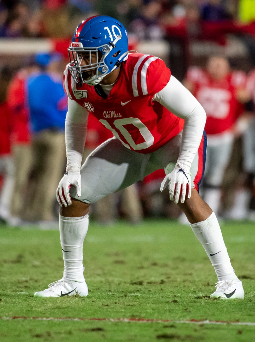 Nov 16, 2019; Oxford, MS, USA; Mississippi Rebels linebacker Jacquez Jones (10) lines up against the Louisiana State Tigers in the first half at Vaught-Hemingway Stadium. Mandatory Credit: Vasha Hunt-USA TODAY Sports