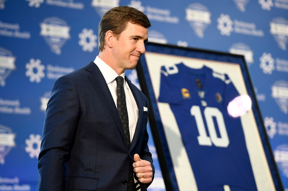 New York Giants quarterback Eli Manning announces his retirement during a press conference at Quest Diagnostics Training Center on Friday, Jan. 24, 2020, in East Rutherford.  Eli Manning Retirement