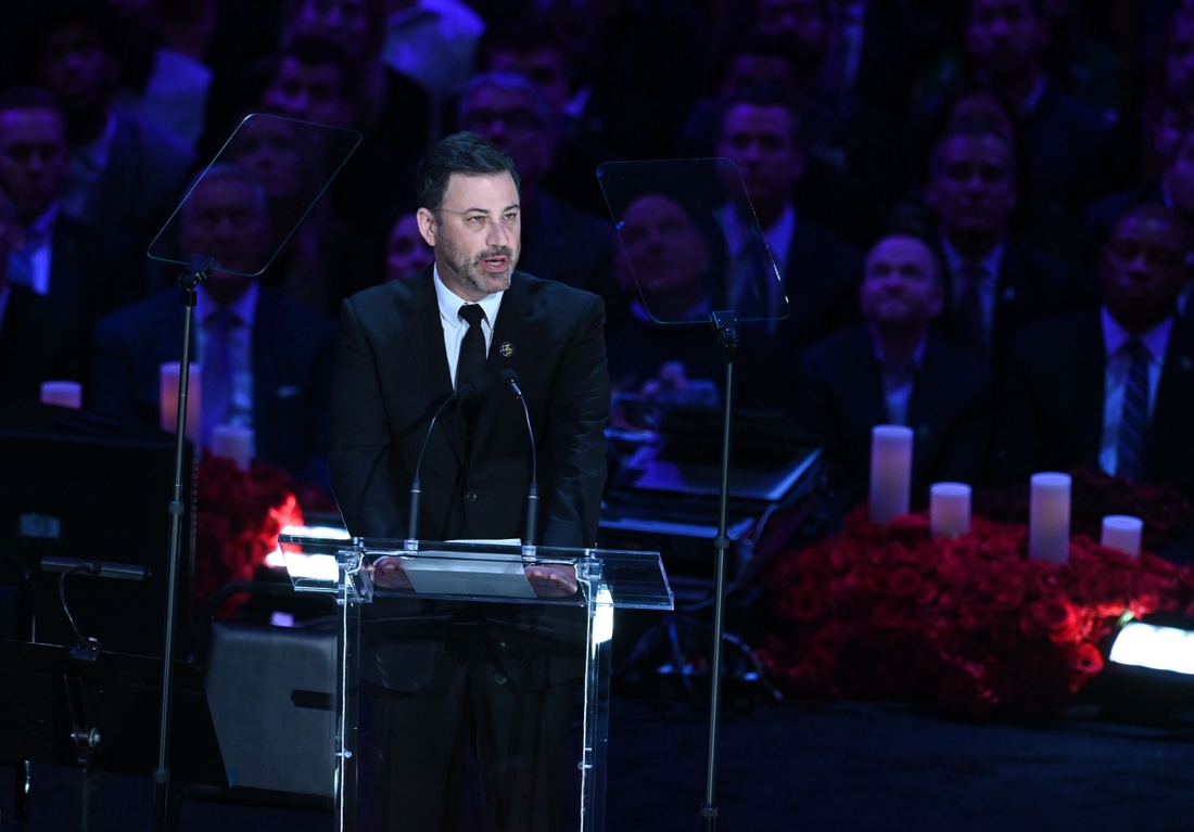 Feb 24, 2020; Los Angeles, California, USA;   Jimmy Kimmel addresses the audience during a memorial to celebrate the life of Kobe Bryant and daughter Gianna Bryant at Staples Center. Mandatory Credit: Robert Hanashiro-USA TODAY Sports