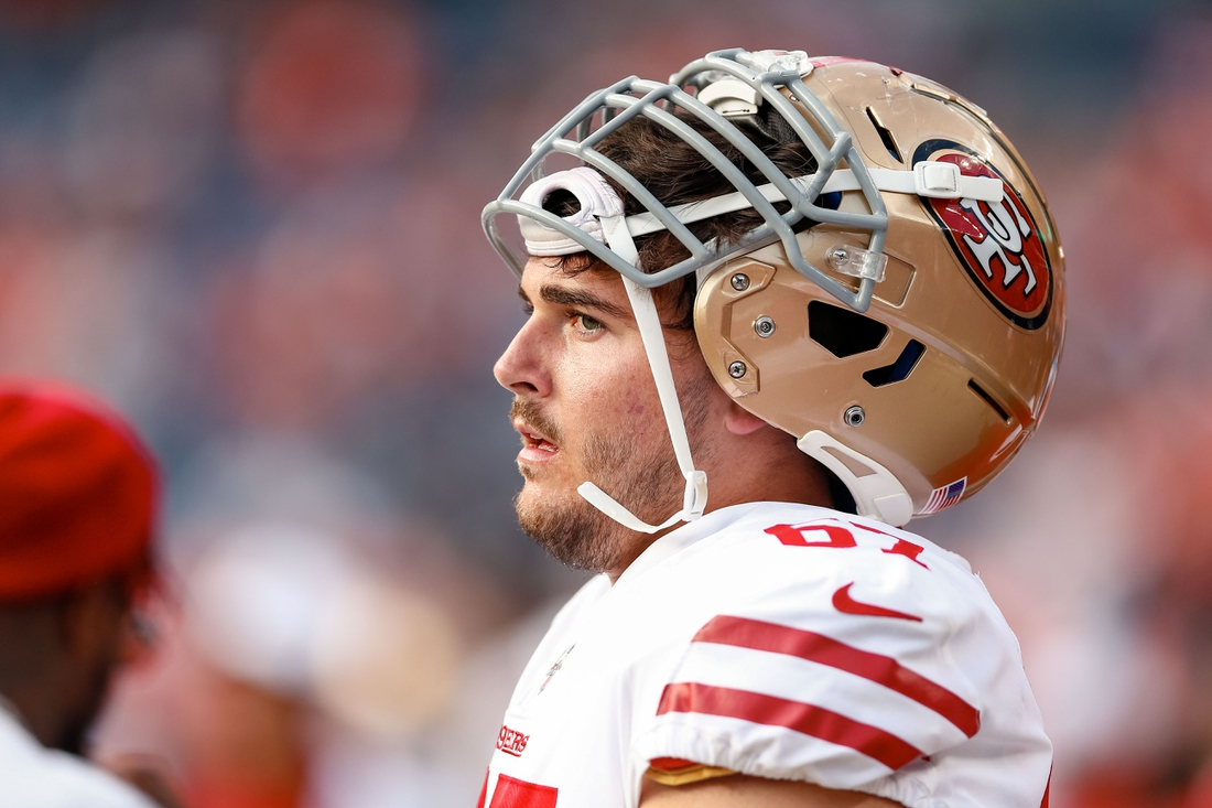 Aug 19, 2019; Denver, CO, USA; San Francisco 49ers offensive tackle Justin Skule (67) before the game against the Denver Broncos at Broncos Stadium at Mile High. Mandatory Credit: Isaiah J. Downing-USA TODAY Sports
