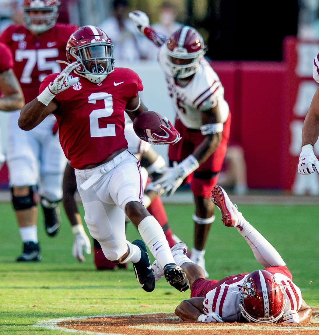 Alabama running back Keilan Robinson (2) breaks free for a long touchdown against New Mexico State at Bryant-Denny Stadium in Tuscaloosa, Ala., on Saturday September 7, 2019.  Uaseason020