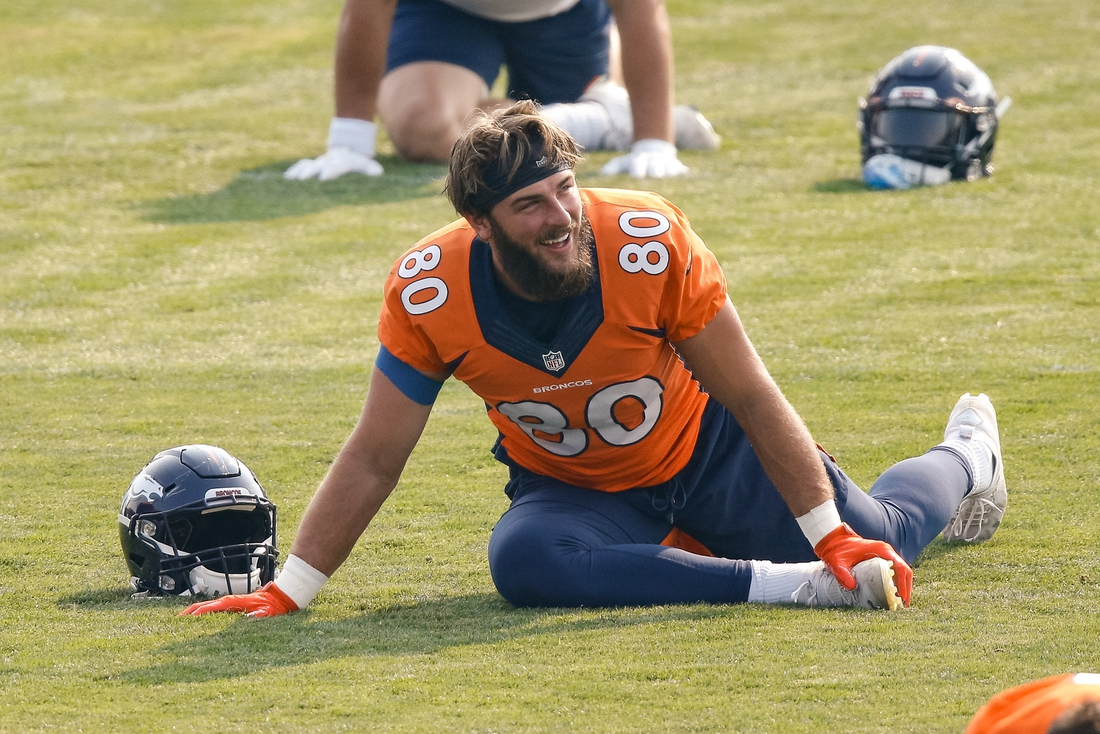 Aug 25, 2020; Englewood, Colorado, USA; Denver Broncos tight end Jake Butt (80) during training camp at the UCHealth Training Center. Mandatory Credit: Isaiah J. Downing-USA TODAY Sports