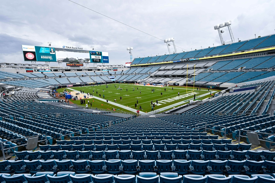 Sep 13, 2020; Jacksonville, Florida, USA; General view of the stadium prior to the game between the Jacksonville Jaguars and the Indianapolis Colts at TIAA Bank Field. Mandatory Credit: Douglas DeFelice-USA TODAY Sports