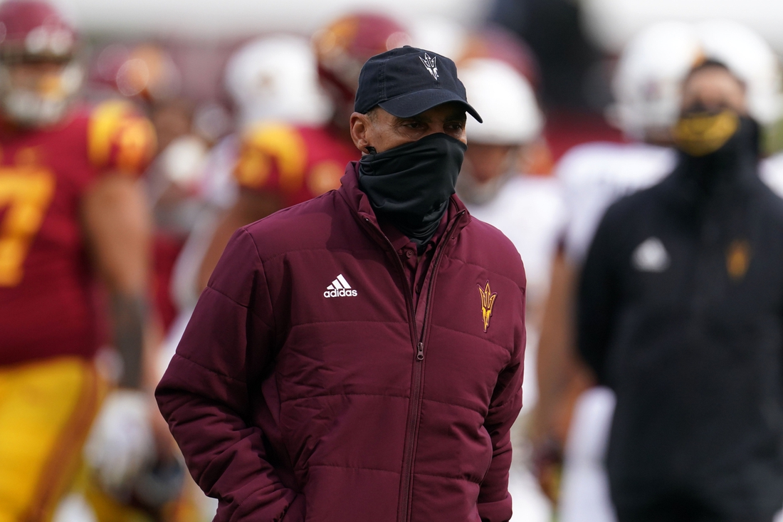 Nov 7, 2020;  Los Angeles CA, USA; Arizona State Sun Devils head coach Herm Edwards walks off the field after the game against the Southern California Trojans  at the Los Angeles Memorial Coliseum. USC defeated Arizona State 28-27.  Mandatory Credit: Kirby Lee-USA TODAY Sports