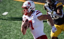 Nov 27, 2020; Iowa City, Iowa, USA; Nebraska Cornhuskers quarterback Luke McCaffrey (7) in action against the Iowa Hawkeyes at Kinnick Stadium. Mandatory Credit: Jeffrey Becker-USA TODAY Sports