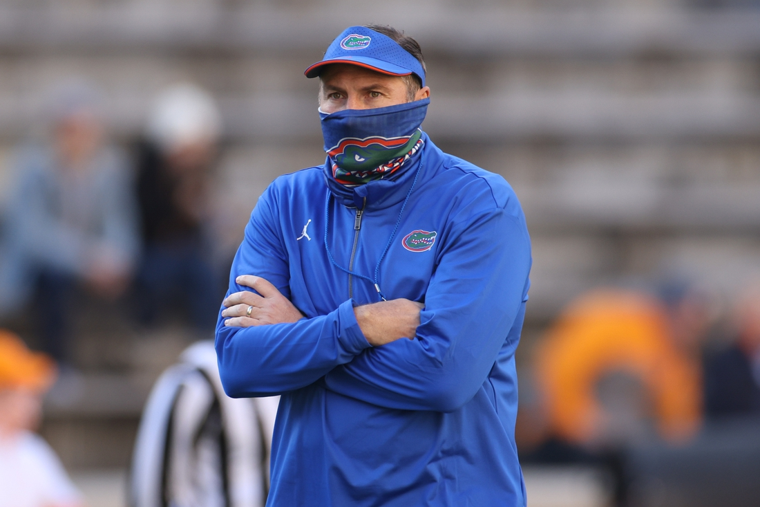 Dec 5, 2020; Knoxville, Tennessee, USA; Florida Gators head coach Dan Mullen stands on the field before the game against the Tennessee Volunteers at Neyland Stadium. Mandatory Credit: Randy Sartin-USA TODAY Sports