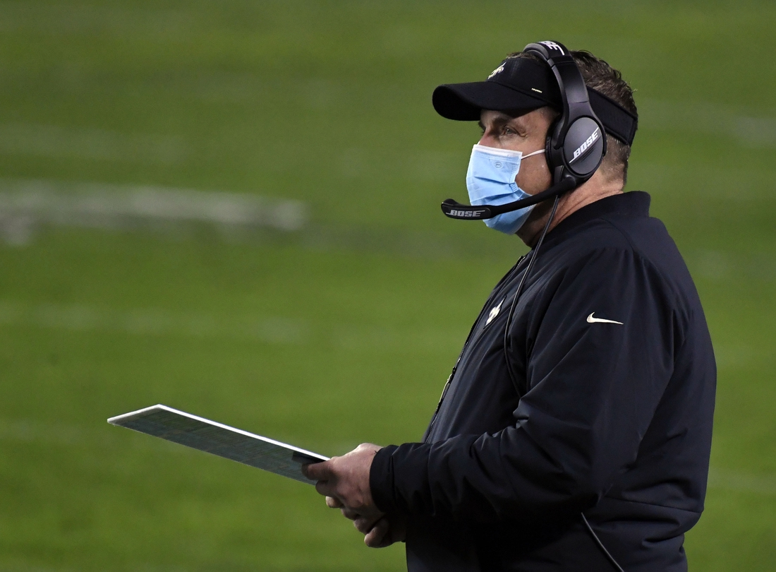 Dec 13, 2020; Philadelphia, Pennsylvania, USA; New Orleans Saints head coach Sean Payton looks on during the second quarter against the Philadelphia Eagles at Lincoln Financial Field. Mandatory Credit: James Lang-USA TODAY Sports
