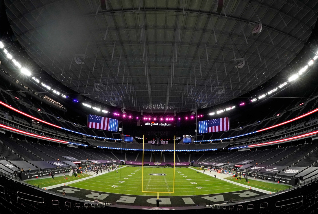 Dec 26, 2020; Paradise, Nevada, USA; A general view of Allegiant Stadium before a game between the Miami Dolphins and the Las Vegas Raiders. Mandatory Credit: Kirby Lee-USA TODAY Sports