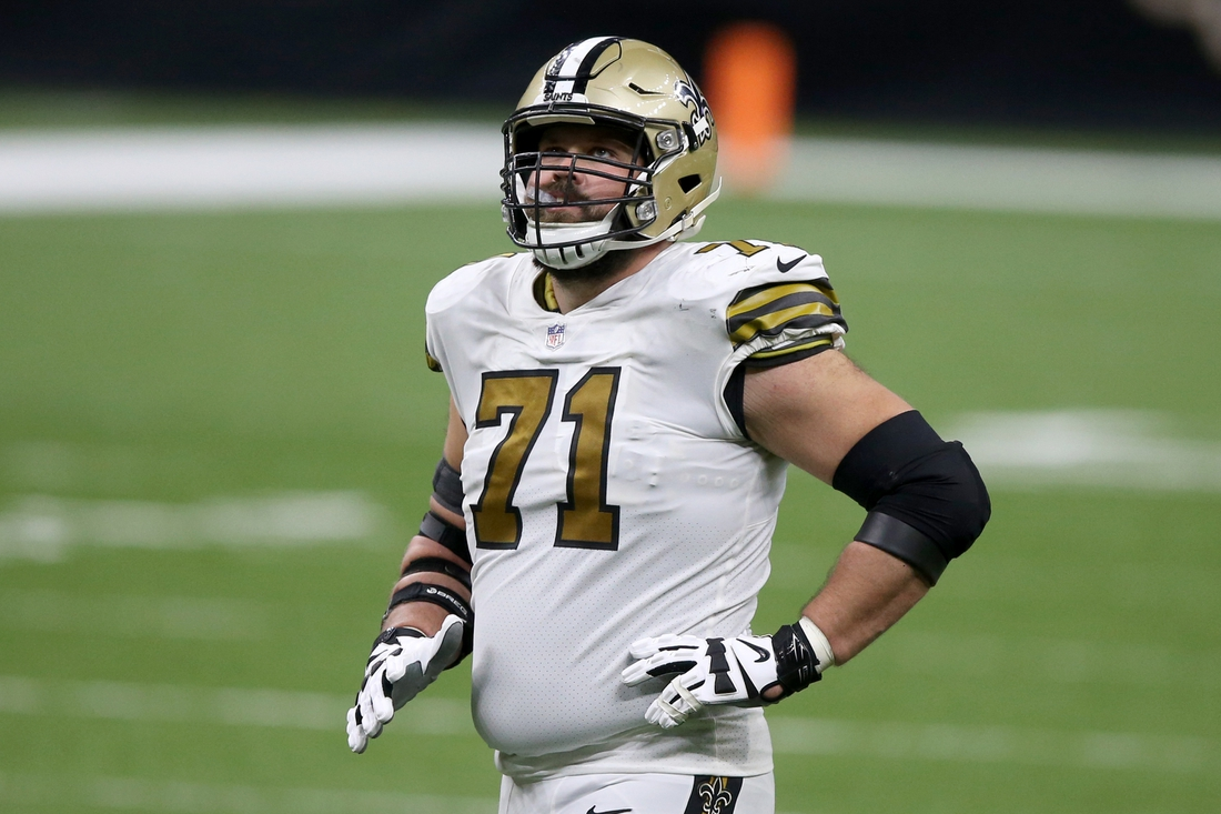 Dec 25, 2020; New Orleans, Louisiana, USA; New Orleans Saints offensive tackle Ryan Ramczyk (71) in the second half against the Minnesota Vikings at the Mercedes-Benz Superdome. Mandatory Credit: Chuck Cook-USA TODAY Sports