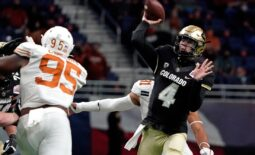 Dec 29, 2020; San Antonio, TX, USA; Colorado Buffaloes quarterback Sam Noyer (4) throws a pass against the Texas Longhorns during the first half at Alamodome. Mandatory Credit: Kirby Lee-USA TODAY Sports