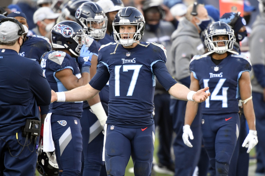 Jan 10, 2021; Nashville, Tennessee, USA; Tennessee Titans quarterback Ryan Tannehill (17) reacts on the sideline after throwing an interception in the fourth quarter during the Tennessee Titans game against the Baltimore Ravens. Mandatory Credit: George Walker/The Tennessean via USA TODAY Sports