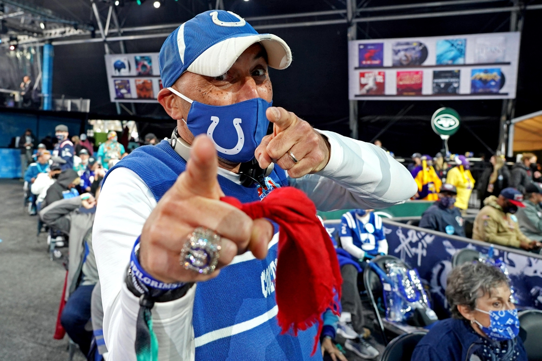 Apr 29, 2021; Cleveland, Ohio, USA; An Indianapolis Colts fan pose for a picture before the 2021 NFL Draft at First Energy Stadium. Mandatory Credit: Kirby Lee-USA TODAY Sports