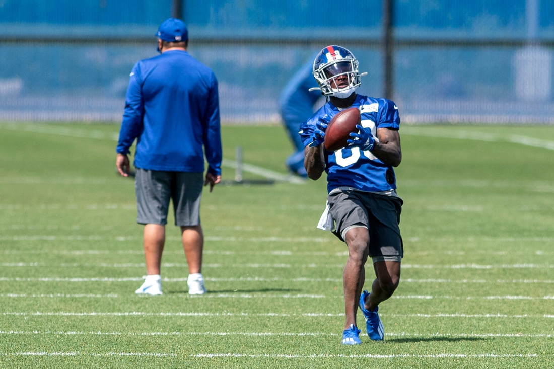 New York Giants wide receiver Kadarius Toney #89 catches a pass during drills at rookie minicamp at Quest Diagnostics Training Center in East Rutherford on May 14, 2021.  East Rutherford Newgiantsmini 004