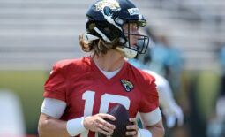 Jaguars (16) QB Trevor Lawrence during drills at Thursday's OTA session. The Jacksonville Jaguars held their Thursday session of organized team activity at the practice fields outside TIAA Bank Field, May 27, 2021. [Bob Self/Florida Times-Union]  Jki 052721 Jagsotas 24