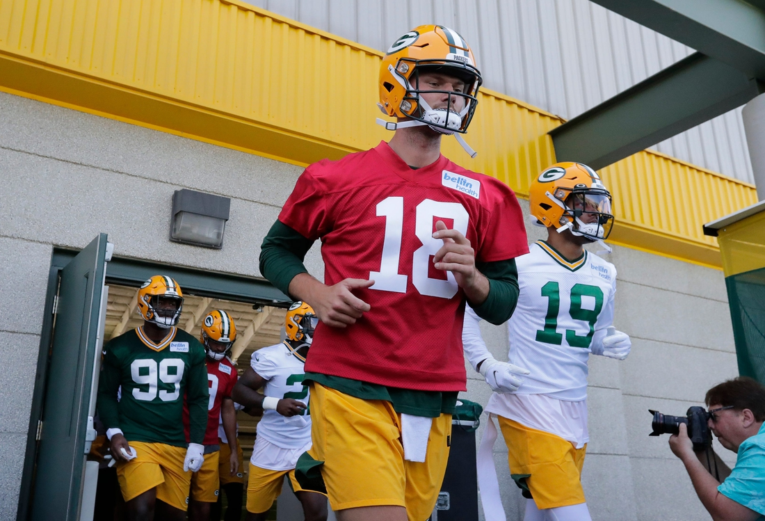 Green Bay Packers quarterback Jake Dolegala (18) participates in minicamp practice Tuesday, June 8, 2021, in Green Bay, Wis. Dan Powers/USA TODAY NETWORK-Wisconsin  Cent02 7g532x6qxbt1ks68o71c Original