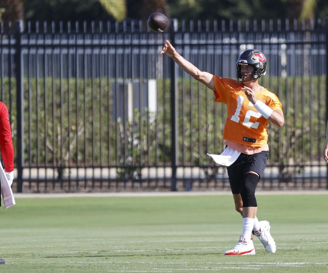 Jun 9, 2021; Tampa, FL, USA;  Tampa Bay Buccaneers quarterback Tom Brady (12) at AdventHealth Training Center. Mandatory Credit: Kim Klement-USA TODAY Sports