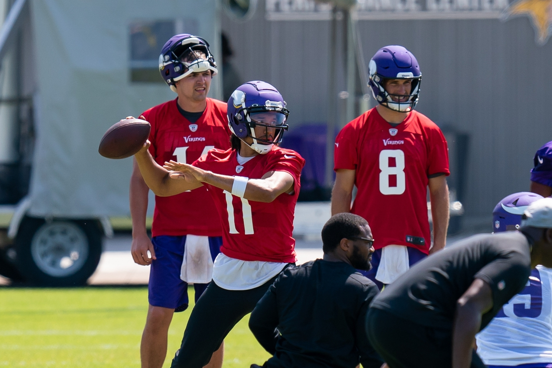 Jun 9, 2021; Minnesota Vikings quarterback Kellen Mond (11) participates in drills at OTA at TCO Performance Center. Mandatory Credit: Brad Rempel-USA TODAY Sports
