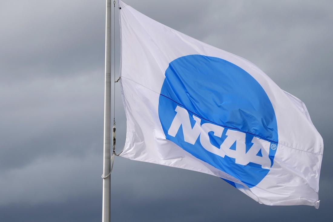Jun 11, 2021; Eugene, Oregon, USA; An NCAA logo flag at the NCAA Track and Field Championships at Hayward Field. Mandatory Credit: Kirby Lee-USA TODAY Sports