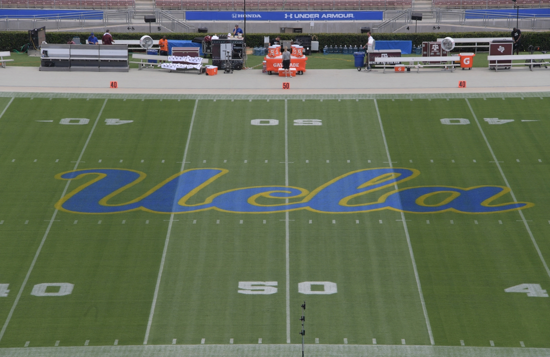 Sep 3, 2017; Pasadena, CA, USA; General overall view of the UCLA Bruins logo at midfield during a NCAA football game between the Texas A&M Aggies and the UCLA Bruinsat Rose Bowl. Mandatory Credit: Kirby Lee-USA TODAY Sports