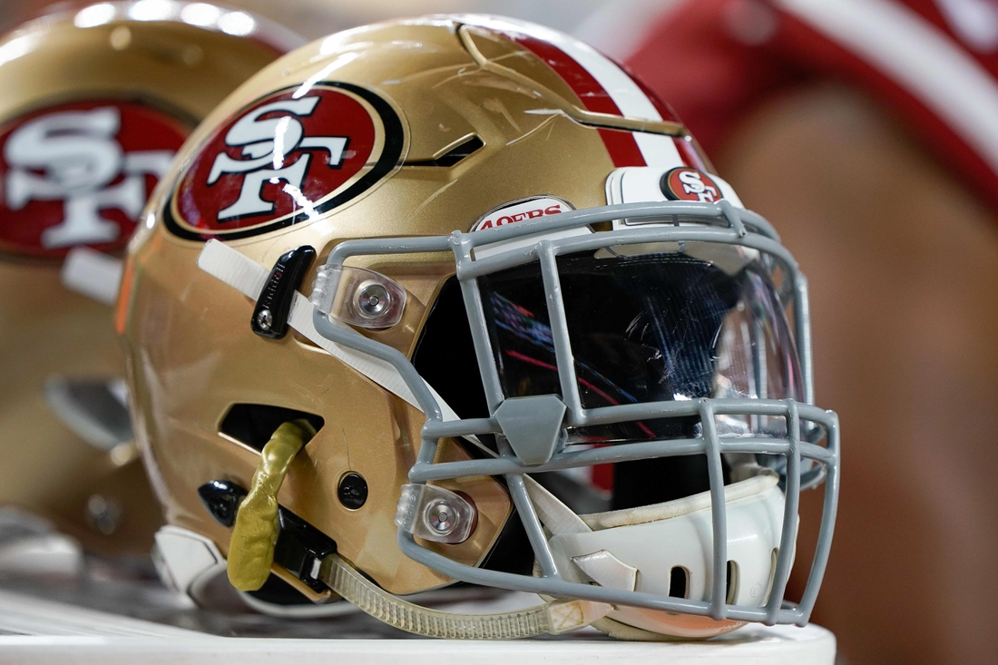 Nov 1, 2018; Santa Clara, CA, USA; General view of the San Francisco 49ers helmet in the game against the Oakland Raiders during the third quarter at Levi's Stadium. Mandatory Credit: Stan Szeto-USA TODAY Sports