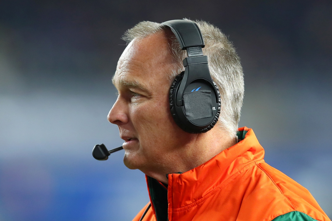 Dec 27, 2018; Bronx, NY, USA; Miami Hurricanes head coach Mark Richt looks on against the Wisconsin Badgers during the second quarter in the 2018 Pinstripe Bowl at Yankee Stadium. Mandatory Credit: Rich Barnes-USA TODAY Sports