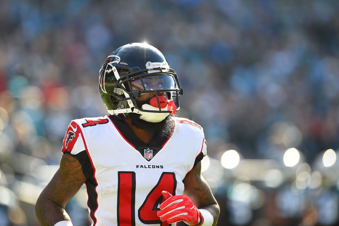 Dec 23, 2018; Charlotte, NC, USA; Atlanta Falcons wide receiver Justin Hardy (14) on the field in the first quarter at Bank of America Stadium. Mandatory Credit: Bob Donnan-USA TODAY Sports