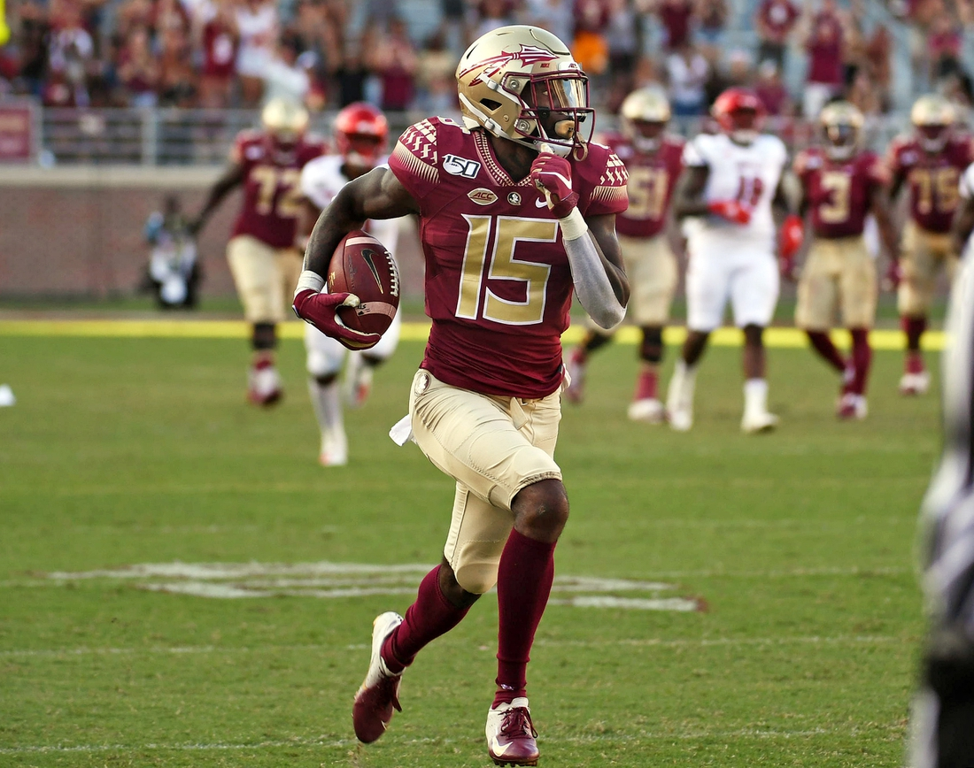 Sep 21, 2019; Tallahassee, FL, USA; Florida State Seminoles wide receiver Tamorrion Terry (15) runs for a touchdown against the Louisville Cardinals during the second half at Doak Campbell Stadium. Mandatory Credit: Melina Myers-USA TODAY Sports