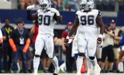 Sep 22, 2019; Arlington, TX, USA; Dallas Cowboys defensive end DeMarcus Lawrence (90) celebrates his fourth quarter sack against the Miami Dolphins at AT&T Stadium. Mandatory Credit: Matthew Emmons-USA TODAY Sports