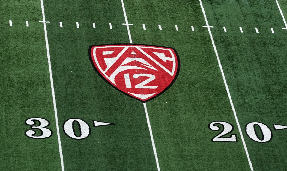 Oct 19, 2019; Salt Lake City, UT, USA; A general view of the Pac-12 conference logo on the field prior to the game between the Utah Utes and the Arizona State Sun Devils at Rice-Eccles Stadium. Mandatory Credit: Kirby Lee-USA TODAY Sports