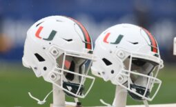 Oct 26, 2019; Pittsburgh, PA, USA;   Miami Hurricanes helmets sit on the sidelines against the Pittsburgh Panthers during the fourth quarter at Heinz Field. Miami won 16-12. Mandatory Credit: Charles LeClaire-USA TODAY Sports