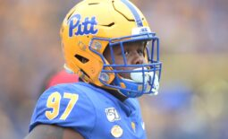 Oct 26, 2019; Pittsburgh, PA, USA;   Pittsburgh Panthers defensive lineman Jaylen Twyman (97) looks on from the sidelines against the Miami Hurricanes during the first quarter at Heinz Field. Miami won 16-12. Mandatory Credit: Charles LeClaire-USA TODAY Sports
