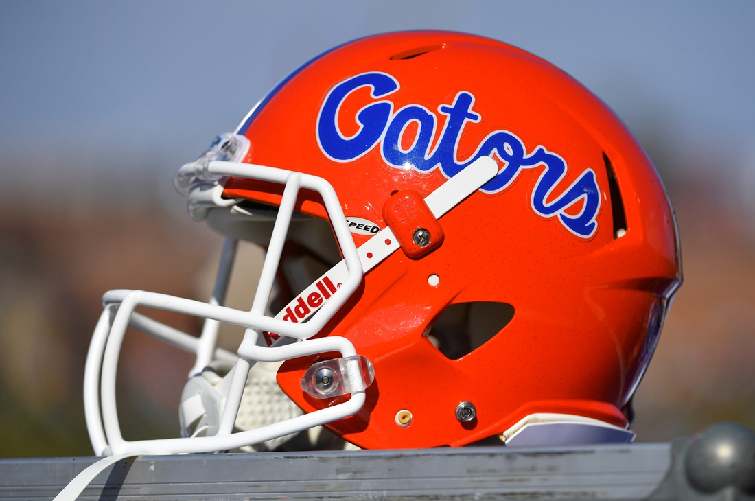 Nov 16, 2019; Columbia, MO, USA; A general view of a Florida Gators helmet during the second half  against the Missouri Tigers at Memorial Stadium/Faurot Field. Mandatory Credit: Denny Medley-USA TODAY Sports