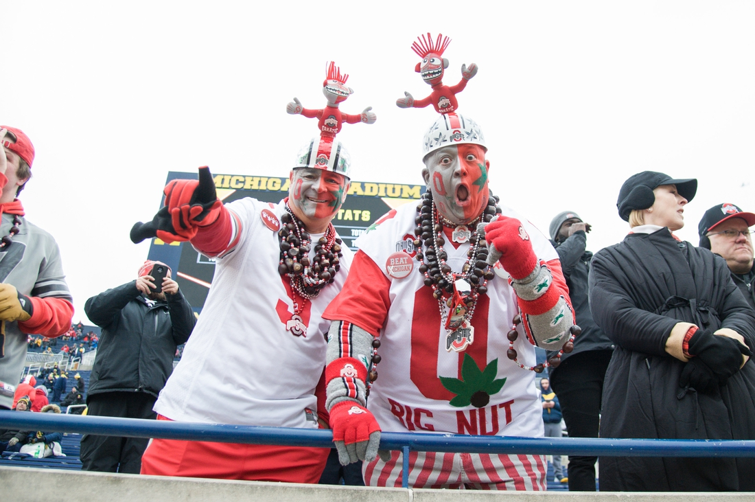 Nov 30, 2019; Ann Arbor, MI, USA; Ohio State Buckeyes fans before the game against the Michigan Wolverines at Michigan Stadium. Mandatory Credit: Tim Fuller-USA TODAY Sports