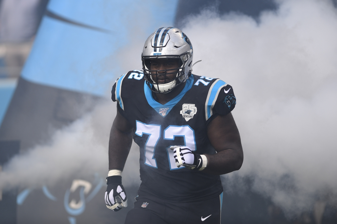 Dec 1, 2019; Charlotte, NC, USA; Carolina Panthers offensive tackle Taylor Moton (72) runs on to the field before the game at Bank of America Stadium. Mandatory Credit: Bob Donnan-USA TODAY Sports