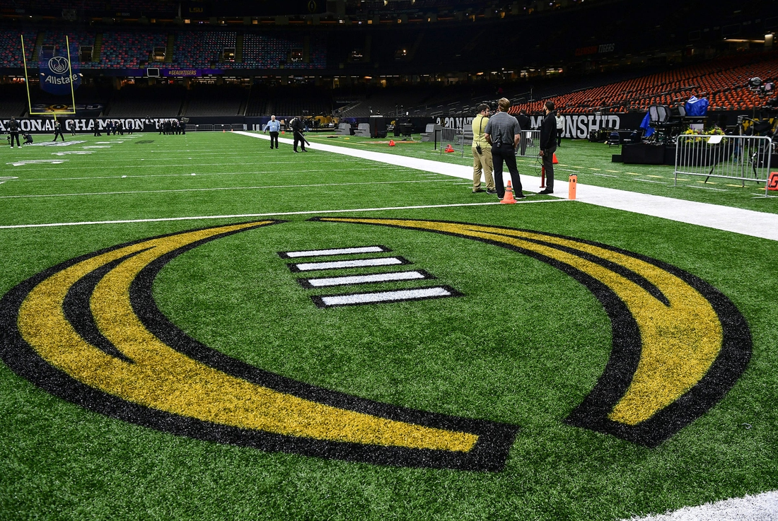 Painted end zone for Clemson with the CFP logo before of the College Football Playoff National Championship game in New Orleans Monday, January 13, 2020.  Pregame Fans Clemson Lsu Football Cfp National Championship New Orleans