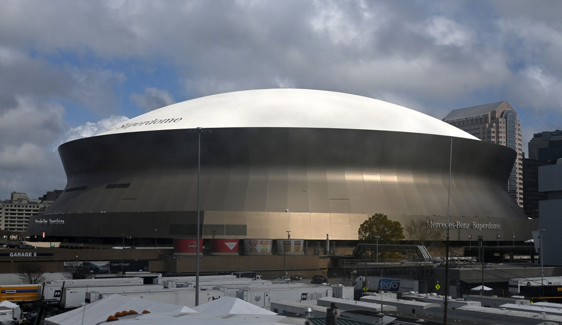 Jan 14, 2020; New Orleans, Louisiana, USA; General overall view of the Mercedes-Benz Superdome exterior, the site of the 2020 CFP National Championship game between the Clemson Tigers and the LSU Tigers.   Mandatory Credit: Kirby Lee-USA TODAY Sports