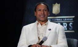 Feb 1, 2020; Miami, Florida, USA; Hall of Fame inductee Troy Polamalu speaks to the media druing NFL Honors awards presentation at Adrienne Arsht Center. Mandatory Credit: Kirby Lee-USA TODAY Sports