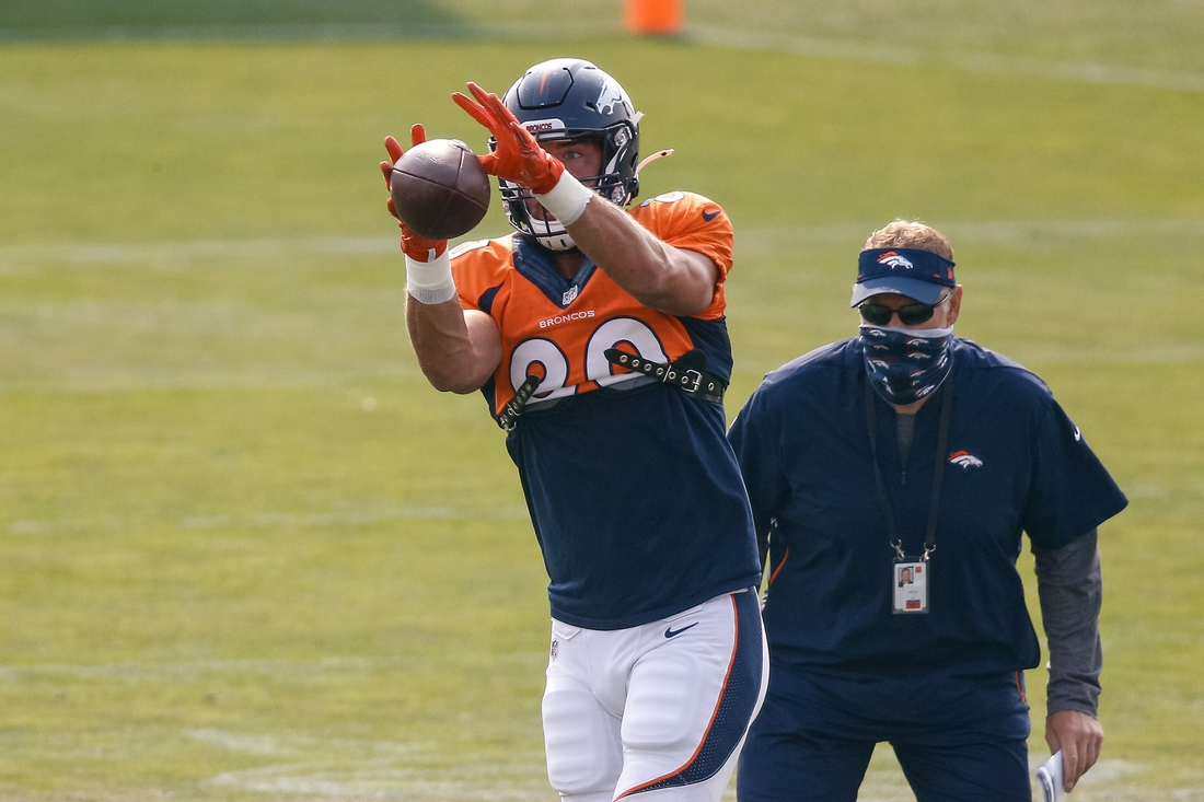 Aug 21, 2020; Englewood, Colorado, USA; Denver Broncos tight end Jake Butt (80) during training camp at the UCHealth Training Center. Mandatory Credit: Isaiah J. Downing-USA TODAY Sports