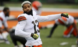 Oct 25, 2020; Cincinnati, Ohio, USA; Cleveland Browns wide receiver Odell Beckham Jr. (13) warms up before the game between the Cincinnati Bengals and the Cleveland Browns at Paul Brown Stadium. Mandatory Credit: Joseph Maiorana-USA TODAY Sports
