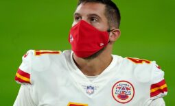 Nov 22, 2020; Paradise, Nevada, USA; Kansas City Chiefs long snapper James Winchester (41) is wearing mask before a game against the Las Vegas Raiders as the CDC recommends wearing masks to slow the spread of COVID-19. Everyone should wear a mask covering unless they are under 2 years of age, and or having a breathing problems at Allegiant Stadium. Mandatory Credit: Kirby Lee-USA TODAY Sports
