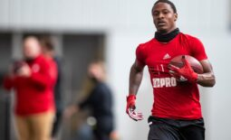 Wide receiver Tutu Atwell runs after a catch during the University of Louisville   s Football Pro Day at the Trager indoor practice facility on Tuesday. March 30, 2021  As 6864 Proday