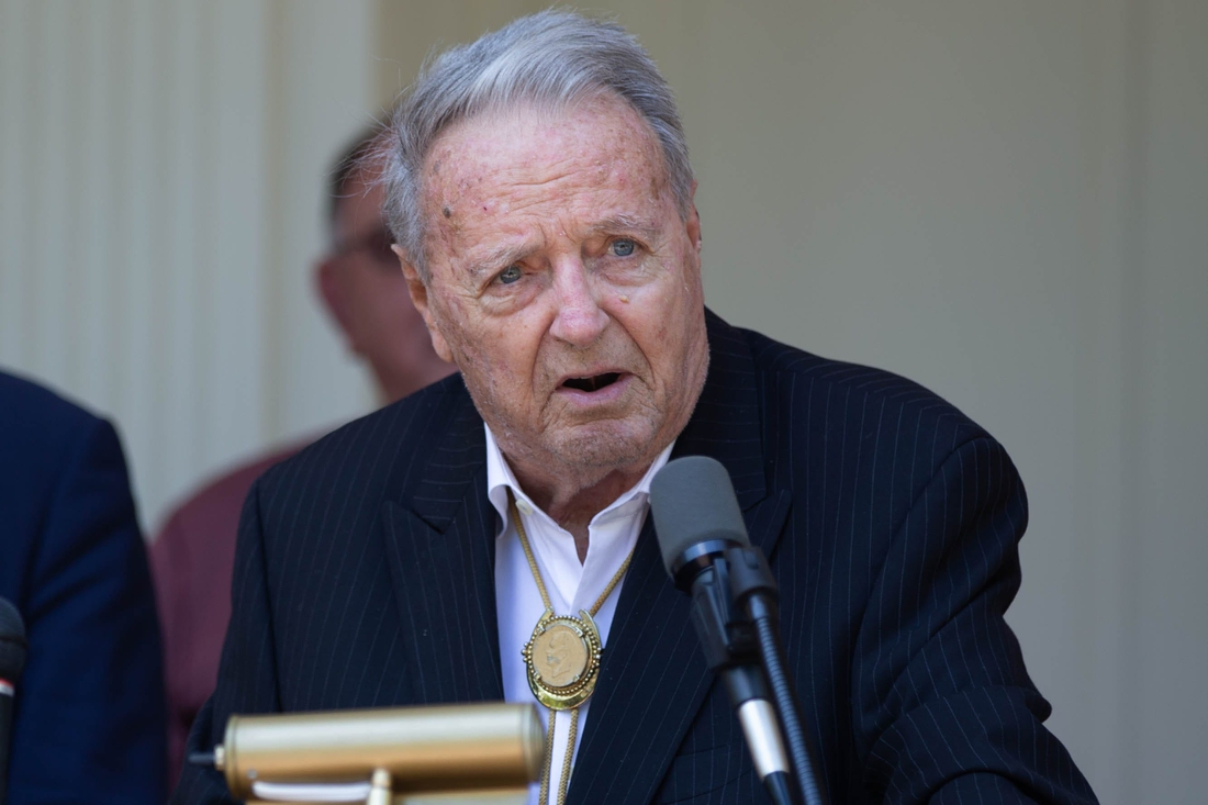 Former Florida State University Head Football Coach Bobby Bowden speaks before being presented with the Governor's Medal of Freedom from Gov. Ron DeSantis, the first person to receive the recognition at the Governor's Mansion in Tallahassee Wednesday, April 7, 2021.  Bobby Bowden Metal Of Freedom 040721 Ts 246