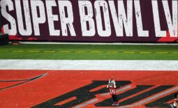 Feb 7, 2021; Tampa, FL, USA; Tampa Bay Buccaneers center Ryan Jensen's son Wyatt, wears his helmet after defeating the Kansas City Chiefs in Super Bowl LV at Raymond James Stadium.  Mandatory Credit: James Lang-USA TODAY Sports