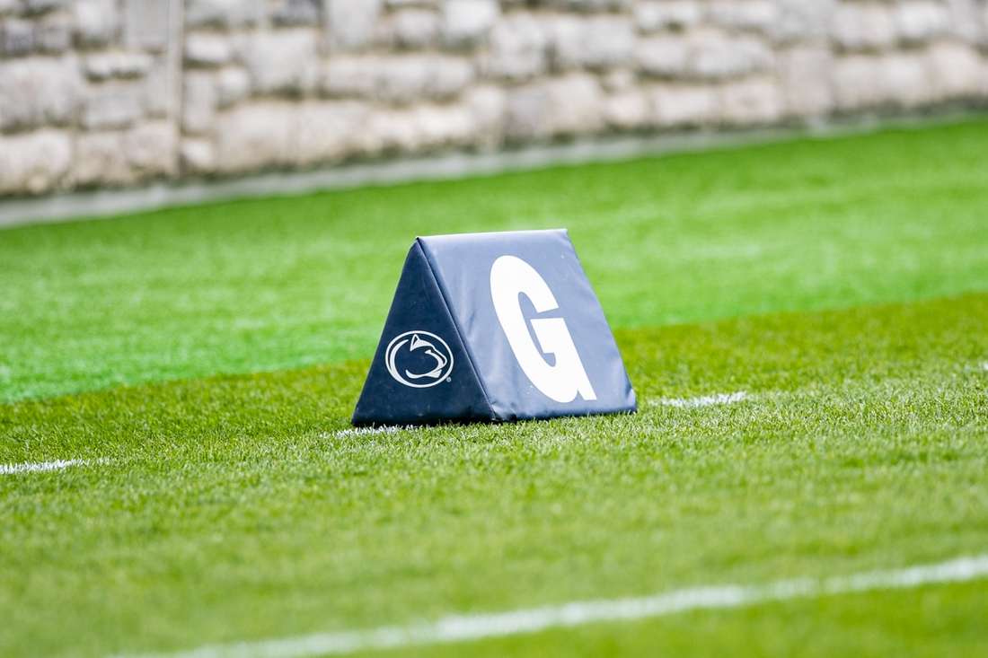 Apr 17, 2021; University Park, PA, USA; A photo of a pylon in the end zone during the Penn State spring practice at Beaver Stadium. Mandatory Credit: Mark Alberti-USA TODAY Sports