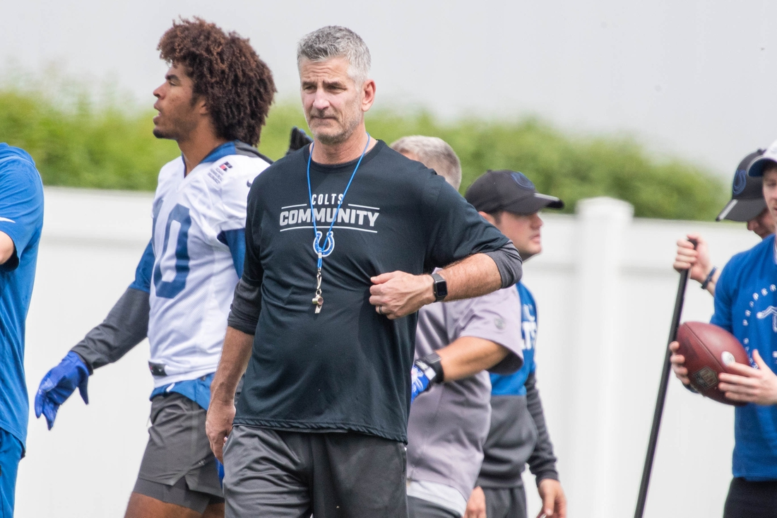 May 27, 2021; Indianapolis, Indiana, USA;  Indianapolis Colts head coach Frank Reich during Indianapolis Colts OTAs. Mandatory Credit: Trevor Ruszkowski-USA TODAY Sports