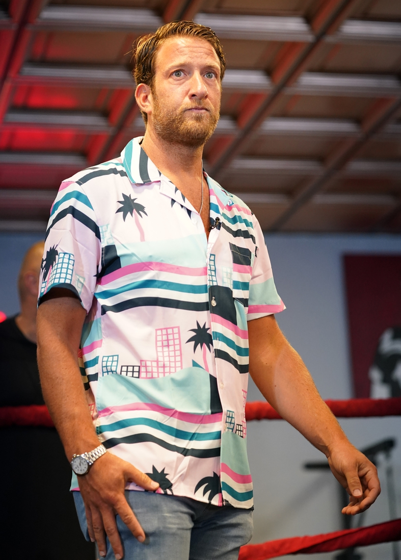 Jun 3, 2021; Miami Beach, Florida, USA; Bar Stool Sports founder Dave Portnoy stands in the ring at World Famous 5th St. Gym. Mandatory Credit: Jasen Vinlove-USA TODAY Sports