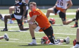 Jun 15, 2021; Cincinnati, Ohio, USA; Cincinnati Bengals quarterback Joe Burrow (9) stretches during minicamp at Paul Brown Stadium. Mandatory Credit: Katie Stratman-USA TODAY Sports