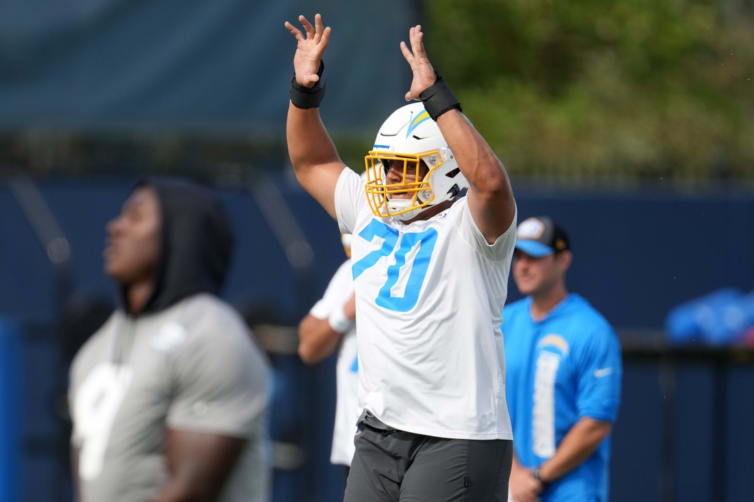 Jun 15, 2021; Costa Mesa, CA, USA; Los Angeles Chargers tackle Rashawn Slater (70) during minicamp at the Hoag Performance Center. Mandatory Credit: Kirby Lee-USA TODAY Sports